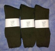 12pr Men's US Army WOOL Blend CREW Boot Socks w/ Cushion Sole OD GREEN 9-11 MED