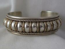 """TOM CHARLEY NAVAJO STERLING SILVER H/M 3/4"""" CUFF BRACELET W/ GP ACCENT BANDS"""