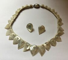 Vintage Mother Of Pearl Necklace Clip On Earrings Set