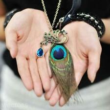 Popular Exotic Bronze Peacock Long Feather Pendant Women Jewelry Necklace Gift