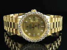 18K Mens Yellow Gold Rolex Presidential 18038 Day-Date 36MM Diamond Watch 5.5 Ct