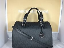 NWT Authentic Michael Kors MK Black Signature PVC Grayson Large Satchel Bag Tote