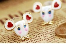 E215 Betsey Johnson Exquisite White Mice Animal w/ Heart Ear Earrings UK