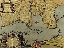 PRINT POSTER MAP BATTLE CADIZ 1702 WAR SPANISH SUCCESSION FLEET SPAIN LFMP0865