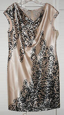 Evan-Picone Champagne/Black Combo Sleeveless Dress Size 12 NWT