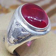 rare handmade 925 sterling silver ring red blood natural ruby yaqut yaqoot stone