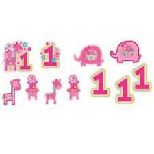 1st BIRTHDAY One Wild Girl CUTOUT DECORATIONS (12) ~ Party Supplies Fans Pink
