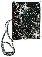 Rhinestone Wings Design Ultra Petite Cross Body Handbag Bling Messenger Black