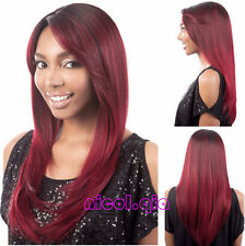 New Fashion Long Ombre Black Burgundy Color Straight Hair Synthetic Hair Wigs