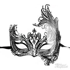 Swan Filigree Metal Mardi Gras Venetian Masquerade Mask for Women [Black]