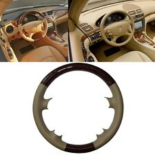 Wood Tan Leather Steering Wheel Cover Mercedes 03-09 W209 R230 W219 06-09 W211 E