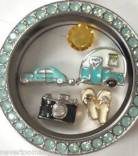 ❤️AUTHENTIC ORIGAMI OWL PACIFIC OPAL LOCKET & 5 CHARM SET VACAY OR RETIREMENT❤️