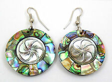 "Handmade 2"" Abalone Shell Flower Carving Mother of Pearl Dangle earrings ; CA138"