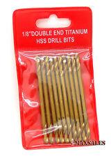 """10pc 1/8"""" Double End Titanium HSS Drill Bits"""