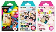 Fujifilm Instax Mini Instant Film Rainbow Staind Glass Candy Pop 10 Sheets X 3