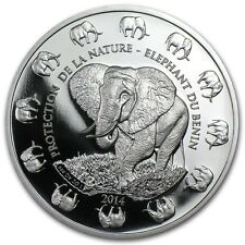 ELEPHANT - 2014 Benin 1 oz Pure Silver Prooflike Coin - Protection de la Nature