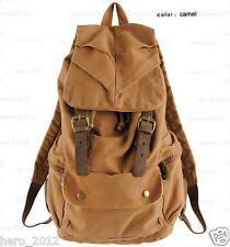 Vintage Leather military Canvas backpack Men's backpack school bags hiking bag