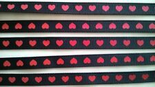 Black Grosgrain Ribbon with Red Printed Hearts ~ 9mm Wide ~ 2 Metre Length