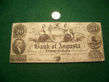 1858 $20 The Bank of Augusta, Georgia - nice Au note - Free Ship