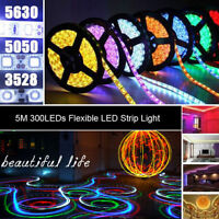 5M 3528 5050 5630 SMD 300LEDs Flexible RGB White LED Strip Light Waterproof 12V