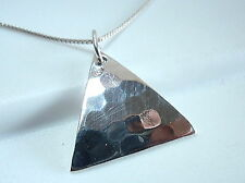 Triangle Hammered Pattern Pendant 925 Sterling Silver Corona Sun Jewelry