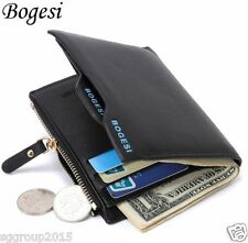 Bogesi Leather Bifold Wallet Credit Card Holder for Men's (BLACK)