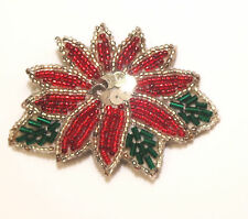 Vintage Seed Bead CHRISTMAS POINSETTIA White Red Green Beads Sequins Brooch Pin