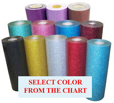 "20""x15ft Heat Transfer Vinyl Glitter, avail. 29 colors, for Cutter,Press; beauty"