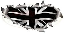 Single Metal Roof/Bonnet Rip Open Union Jack Black flag Sticker4X4 Car Truck Van