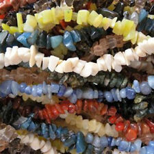 "TEN 10 Strands Mixed Stone & Glass Chip Beads Endless 32"" - 34"" Bulk Chips"