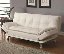 Coaster 300291 Futon Sleeper Sofa Bed White Faux Leather Upholstery