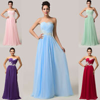 Maxi Prom Evening Bridesmaid Ball Gown Wedding Bridal Party Long Dress SIZE 6-20