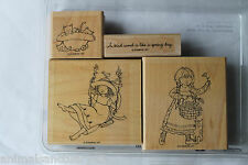 "Stampin Up A Kind Word set of 4 ""Retired"" Girls, Swing, Flowers, Kittens, Spring"