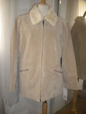 EXCELLED COLLECTION BEIGE LEATHER SHEARLING LINED ZIP JACKET WOMAN'S SIZE XL NEW