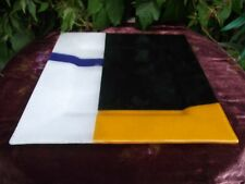 LARGE  FUSED ART GLASS PLATE / PLATTER 13 INCHES SQUARE GEOMETRIC ABSTRACT PTN