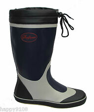 Seafarer Sailing Boat Deck Rubber Wellington Boots Wellies Grey/Yellow