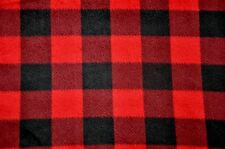 """ANTI PILL RED AND BLACK BUFFALO CHECK PLAID  FLEECE MATERIAL 2 YARDS 60 X 72"""""""