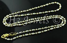 4.90 grams 18k solid 2 tone  gold diamond cut bead chain necklace 16 inches #576