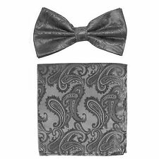 New formal Men's micro fiber Pre-tied Bow Tie & Hankie charcoal gray paisley
