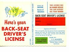 Back Seat Drivers Car Auto License-Funny Humor-1976 Comic Modern Postcard