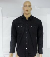 New Levi's Mens 61879 Black Wash Pearl Snap Work Wear Western Denim Shirt Sz M