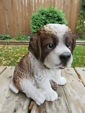 Saint Bernard Puppy Dog Statue Figurine Canine Home Decor Pet 6.75In. Resin