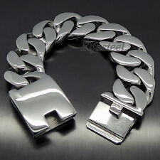 "MEN'S Heavy Thick 316L Stainless Steel Curb Chain Bracelet 8.5"" / 21.5cm"