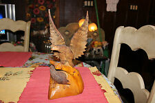 Vintage Russian Polish Wood Carved Eagles-Spread Eagle-Detailed American Eagles