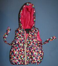 Coogi Hooded Puffy Puffer Vest Infant Sz 6 -9 Mos Signature Colorful  Baby Girl