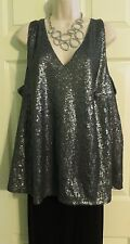 NEW Stunning Gunmetal Sequined Shimmer Trapeze Top Lane Bryant Plus 26/28 (3X/4X