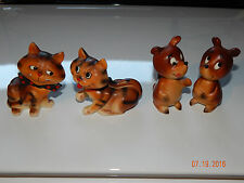 LOT Vintage JAPAN Anthropomorphic Cat Bowtie Whiskers Bear Salt Pepper Shakers