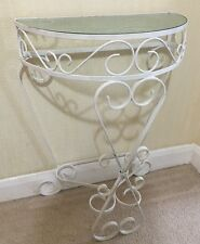 Vintage 1960s Hollywood Revival White Painted Wrought Iron Glass Side Table
