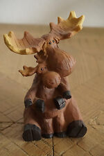 FAUX WOOD CARVED MOOSE & BABY FIGURINE Adorable Rustic Log Cabin Lodge Decor NEW