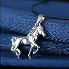 Galloping Horse Lover Pendant Necklace Leather Chain Stainless Steel Silver Look